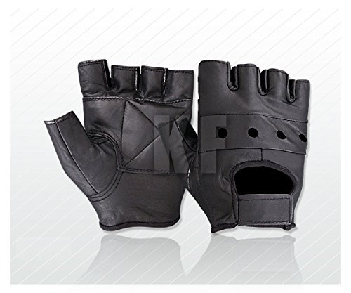 Kango New Soft Leather Fingerless Mens Weight Training Gloves Black Cycling Wheelchair -