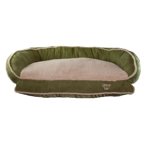 Happy Tails Micro Suede Bolster Bed for Pets, 35 by 24-Inch, Sage