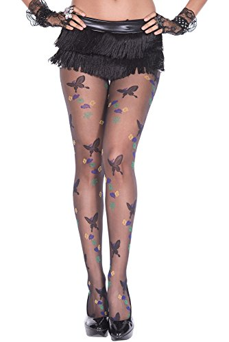 Envy Body Shop Butterfly with leaves design spandex pantyhose