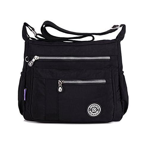 TianHengYi Womens Lightweight Nylon Cross-body Shoulder Bag Casual Messenger Bag with Zipper Pockets Black