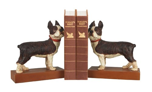 Puppy Bookends - Sterling Home Pair of Boston Terrier Bookends, 8-1/2-Inch Tall