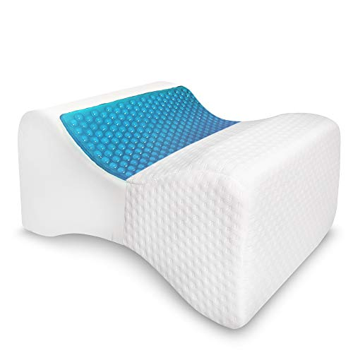 AnboCare Knee Pillow for Side Sleepers - Cooling Gel Memory Foam Cushion Gives Back Hip Leg Ankle and Knee Support - Wedge Pillow for Sciatica Nerve Relief, Spine Alignment, Pregnancy and Joint Pain