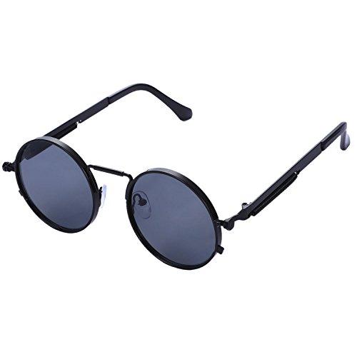 gris Gafas negro metal mujer retro TOOGOO vintage de de sol sol de UV400 Marco hombe de redondo steampunk Gafas UwppTdqc