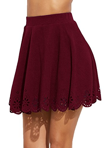(SheIn Women's Basic Solid Cutout Scallop Hem Flared Mini Skater Skirt Large Burgundy)