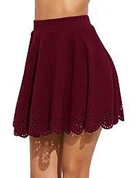 Women's Basic Solid Flared Mini Skater Skirt