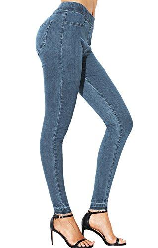 Lápiz Moda Pantalón Mujeres Pants Denim Azul Apretado Cintura Gavemenget Largos Vaqueros Pantalones Claro Elástico fnAdWxq4