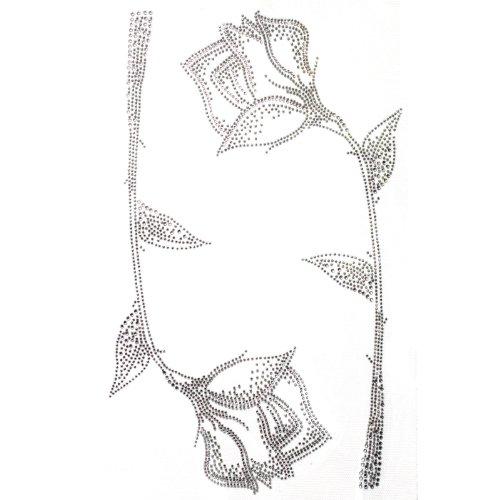 (Rhinestone Transfer Hot Fix T-shirt Clothing Crafts Cushion Pattern Flower Beautiful Design 1 Sheets)