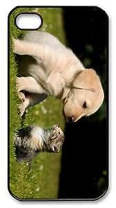 underwater case Cute Puppy Kitten PC Black Case for iphone 4/4S