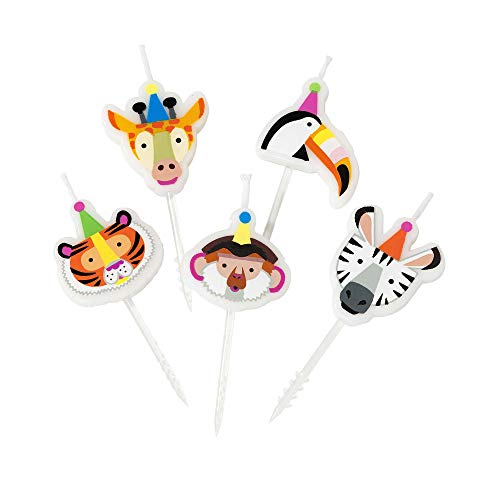 Talking Tables Party Safari Jungle Zoo Animal Birthday Cake Candles, Pack of 5, Wax Height 3cm, 1
