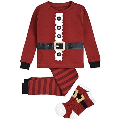 (Petit Lem Holiday Big Boys Boy/girl 3 Pcs Set Pyjama- Ls Top And Pant,socks Knit, Red, 2)