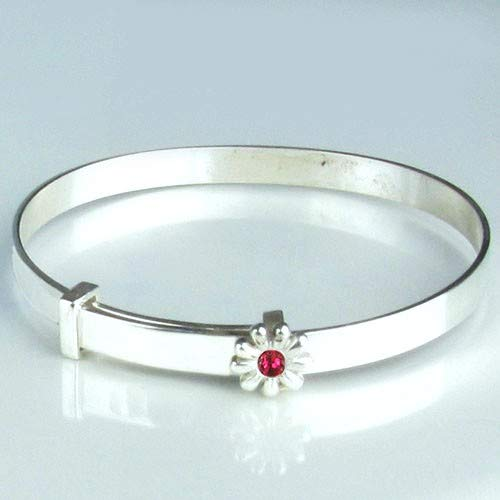 12 Month Guarantee. Hallmarked Sterling Silver Expanding July Birthstone Set in a Flower Christening Baby Bangle Free Engraving /& Free Personalised Box Ribbon