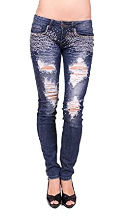 Machine Jeans Women Distressed Skinny Jeans with