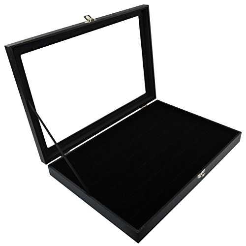 cnomg 72 Slot Jewelry Ring Box Case Storage Tray Organizer for Jewelry Rings Earrings, Velvet Jewelry Display Storage Holder Tray Case Top Rings Glass Display Showcase (13.8x9.5x1) ()