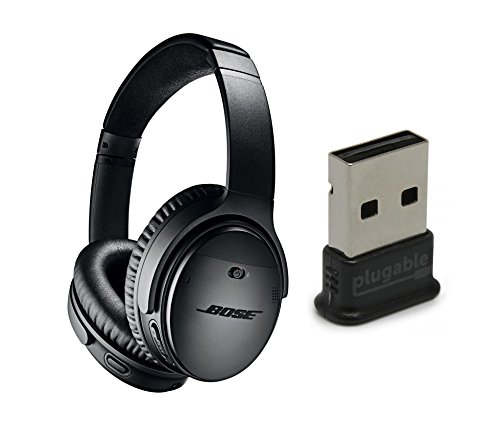 Bose QuietComfort 35 (Series II) Noise Cancelling Wireless Headphones, Black, with Plugable USB 2.0 Bluetooth Adapter (USB-BT4LE)