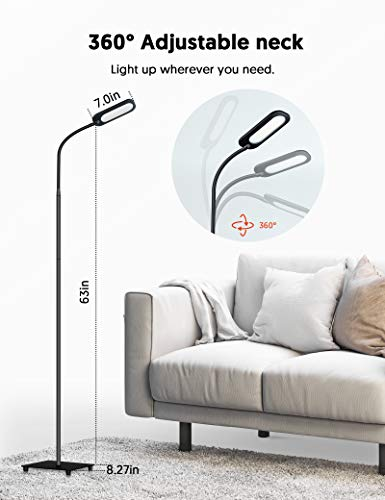 Floor Lamp, Lamps for Living Room TECKIN Reading Lamp, 5 Color Temperatures & 4 Brightness Levels, Dimmable Adjustable Standing Lamp for Bedroom Office