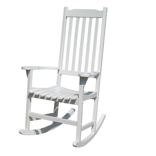 Merry Garden - White Porch Rocker/Rocking Chair Acacia Wood (Wood Rocker Garden)