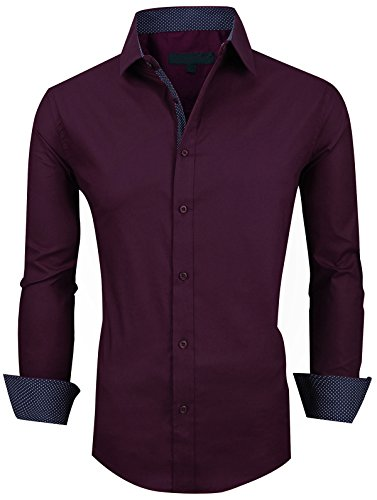 (XTAPAN Men's Long Sleeve Casual Slim Fit Inner Contrast Button Down Dress Shirt Wine Red US M 8888)