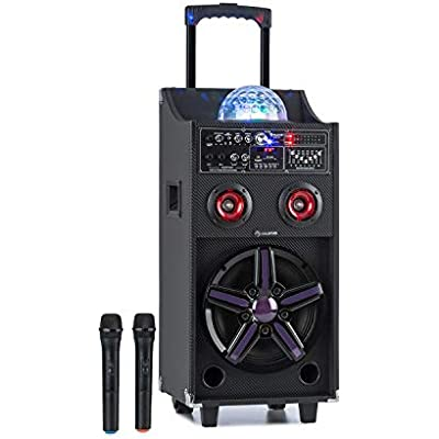AUNA DisGo Box 100 Mobile System 10  Woofer  Tweeter  RMS  LED Lights  Bluetooth  USB  SD  12V 4 5A Rechargeable Battery  UHF Wireless Mics  Remote Control  Carrying Handle  Black