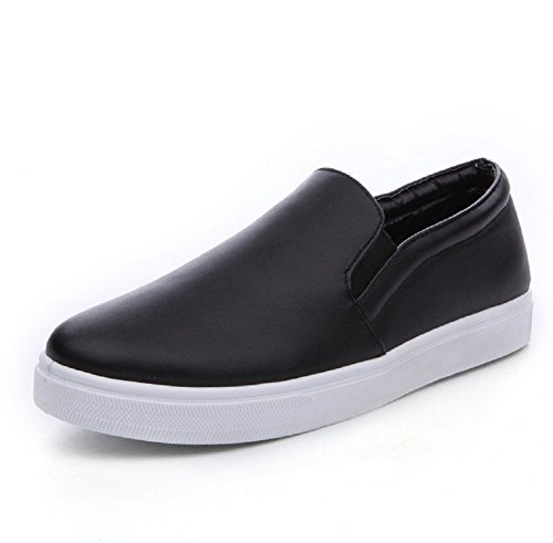 LOVEBEAUTY Women's Solid Color Fashion Sneakers Slip On Shoes Black US 7