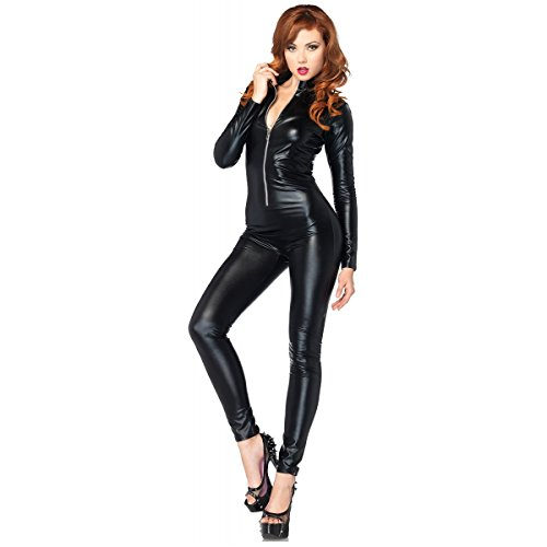 Lame Zipper Front Catsuit Costume Starter - Large - Dress Size 12-14 (Lame Catsuit)