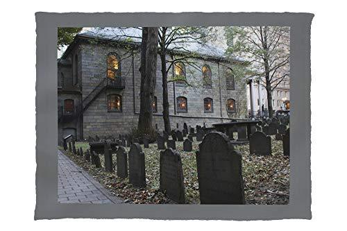 Lantern Press Salem, Massachusetts - Church Graveyard - Photography A-94742 94742 (60x80 Poly Fleece Thick Plush Blanket) (Best Haunted Houses In Salem Massachusetts)