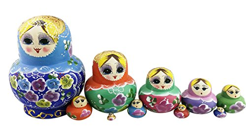 Winterworm Cute Popular Colorful Blonde Little Girl Flower Pattern Big Paunch Wooden Handmade Russian Nesting Dolls Matryoshka Dolls Set 10 Pieces for Kids Toy Birthday Gifts Home Decoration