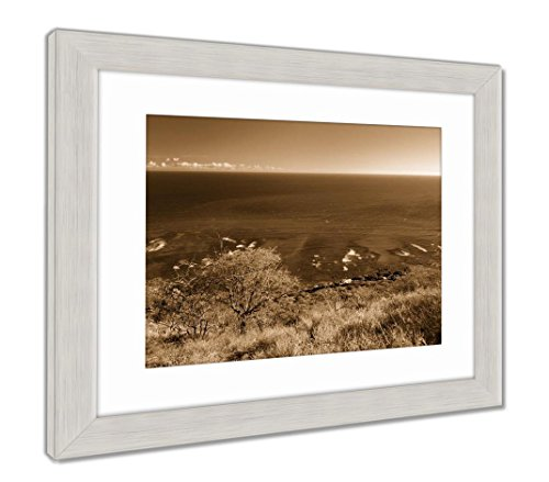 Outdoor Natural Accent Lighthouse (Ashley Framed Prints Oceanfront Houses in Oahu Island, Wall Art Home Decoration, Sepia, 34x40 (Frame Size), Silver Frame, AG6407113)