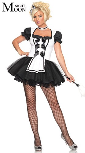 Topry (TM) Servant Women Cosplay Black With White Color Party Halloween Fancy Dress Short Sleeve Sexy French Maid (French Maid Party)