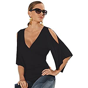 LOSRLY Womens Sexy Wrap V Neck Cold Shoulder Flare Short Sleeve Ruched Tops and Tees Shirts PRIME