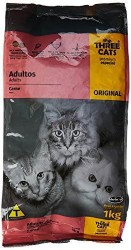 A Ração Three Cats Original Sabor Carne para Gatos Adultos Castrados Biofresh Raça Adulto, Sabor Carne 1kg