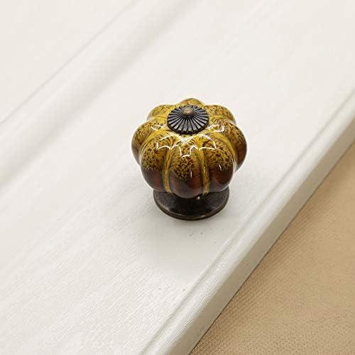JBVG Mango De Cerámica 10 Piezas de cerámica de la manija de la Puerta acristalada de 40 mm Mango Calabaza del Estilo Retro del cajón del gabinete con Base de Bronce Antiguo Renovación De Viviendas