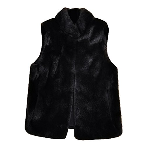 Vest Warm Cardigan Girls Sleeveless Winter Outwear Size Black Faux Black Jackets Plus Fur Janly® Tops Womens Ladies Coat A1gEwq