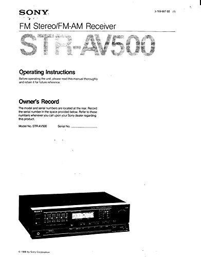 - Sony STR-AV500 Receiver Owners Manual