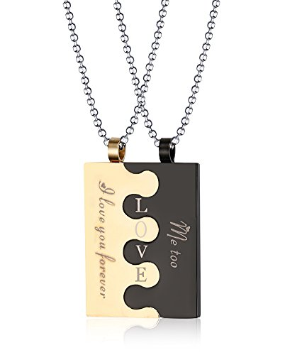 Stainless Steel Square Tag Puzzle Couple Pendant Necklace for Lover Valentine Promise,Free Chain