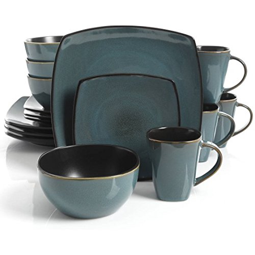 Gibson Home Soho Lounge Square Stoneware 16-piece Dinnerware Set - Teal - Home 16 Piece