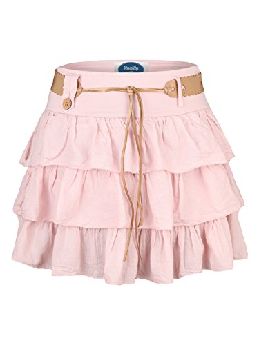 AO mini-jupe  volants Rose
