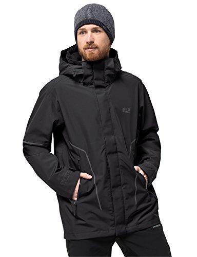 Jack Wolfskin Men's Taiga Trail M Waterproof Recycled Shell Jacket, Black, Large