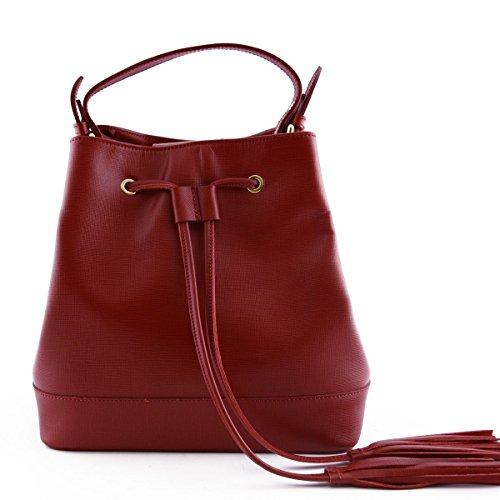 Borsa Donna A Mano In Pelle Colore Rosso - Pelletteria Toscana Made In Italy - Borsa Donna