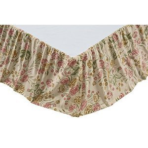 Madeline Cotton Floral Flower Design Red Green Tan King Bed Skirt 78 x 80 x 16 Inches