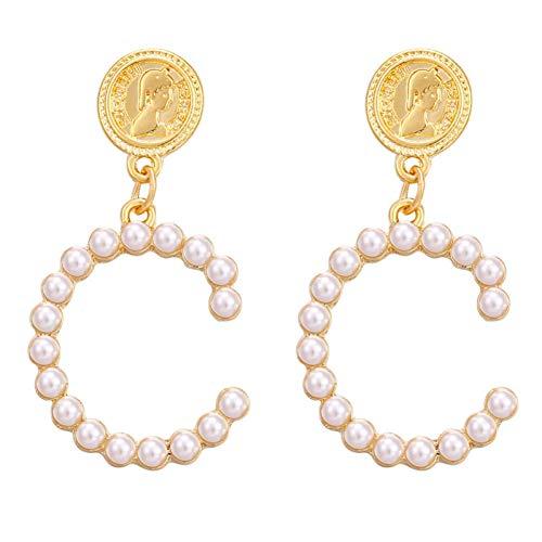 (SKYEARRING Pearl Long Earrings for Women Round Heart Geometric Dangle Earring Wedding Jewelry)