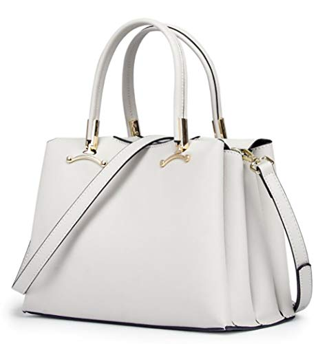 Bag Leathe Tote Genuine white Creamy Women's shoulder w4qI6Rn5