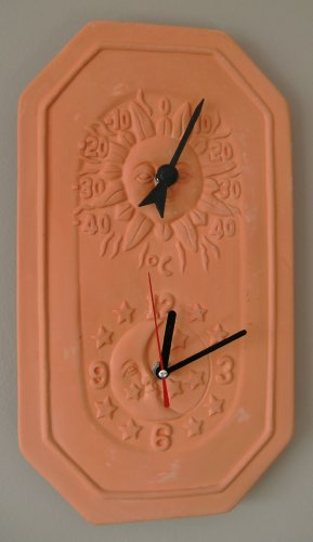 Terracotta Garden Clock And Thermometer