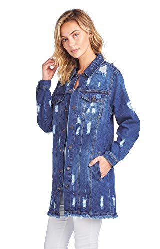 ICONICC Women's Destroyed Denim Jean Coat Jacket (JK4007_DK_L)