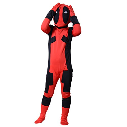 Deadpool Costume Colors (Kids Deadpool Costume Boy Halloween Cosplay Bodysuit Jumpsuits L)