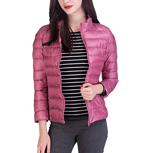 Adelina Down Jacket Women Autumn Winter Packable Mode Lightweight Down Coat Long Sleeve Stand Collar Slim Fit Fashion Elegant Transition Jacket Outwear Big Sizes Pink