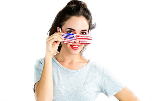 Treasures Gifted Small Fashion Trendy Vintage 90s coll Funky Retro Sunglasses for Men and Women, Patriotic American Flag Accessories for a Fourth of July Party or Memorial ()