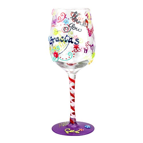 Top Shelf TS-4004A Thank Glass - Unique Wine Lover Gifts-Hand Painted, 15oz, multi-colored (Just For You Willow Tree)