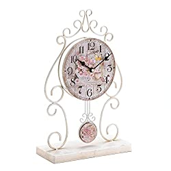 Accent Plus Small Desk Clock, Country Rose Round Metal Rustic Vintage Table Clock, White