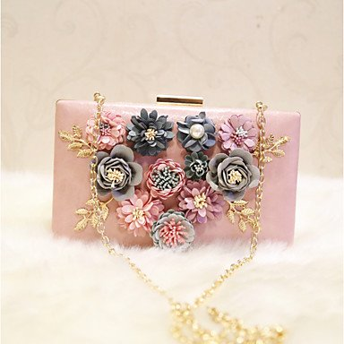 Bolsa de noche de las mujeres PU All Seasons evento de boda/Party &Amp; Noche Fecha Baguette Flor Ruborizados Peachblow magnético blanco rosado, blanco Peachblow