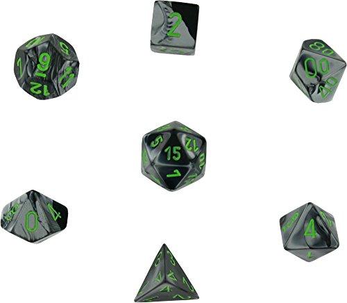 Chessex Gemini Black Grey w/ Green Polyhedral 7 Dice Set CHX26445 -